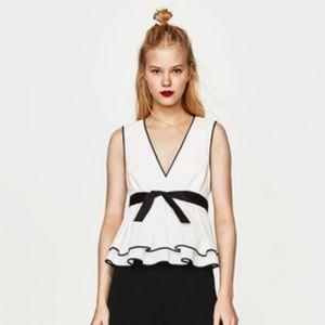NWT Zara Size S Colorblock Contrast Top